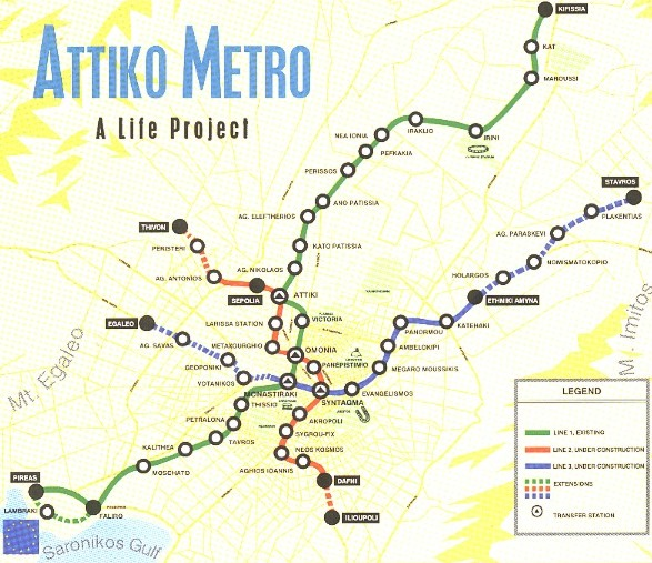 Схема линий Афинского метро